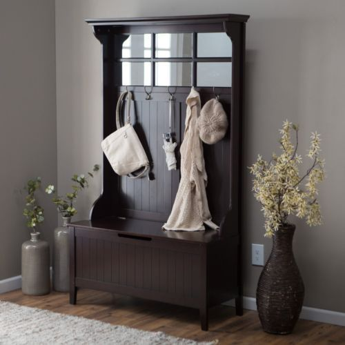 Entryway hall tree coat rack with storage bench wood espresso finish coats trees and coat Storage bench with coat rack