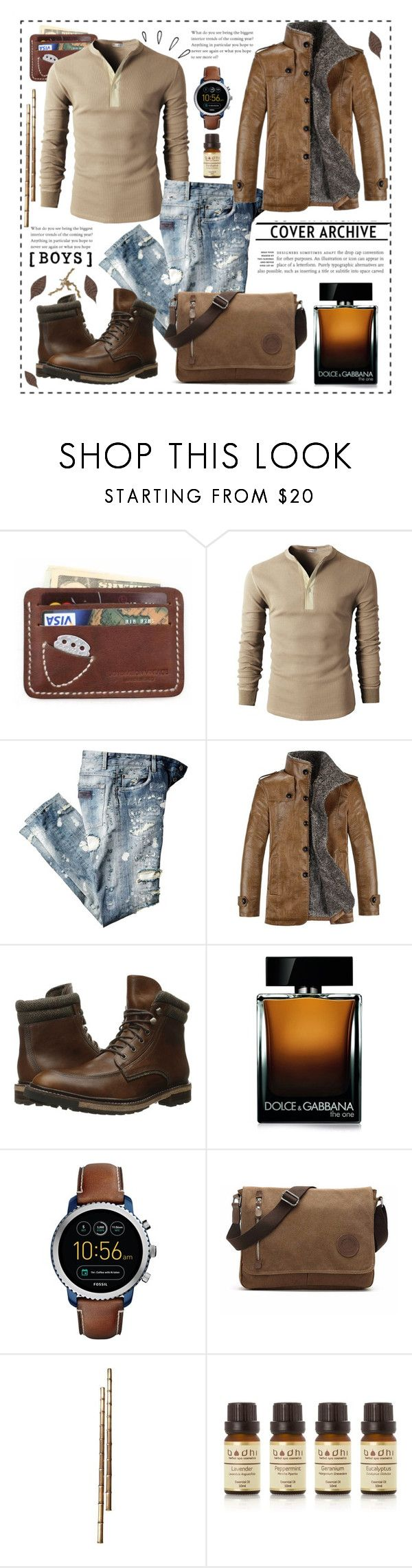 """""""MEN LEATHER BOOTS"""" by celine-diaz-1 ❤ liked on Polyvore featuring Woolrich, Dolce&Gabbana, FOSSIL, Bodhi, Old Navy, men's fashion and menswear"""