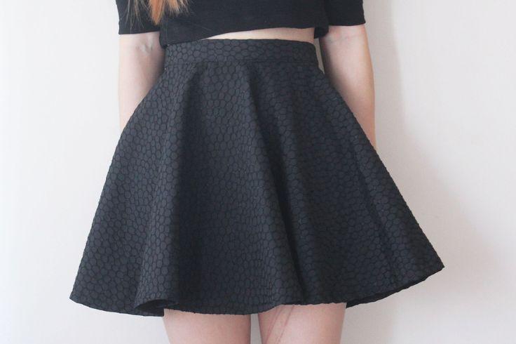 Black Pebbled Skater Skirt