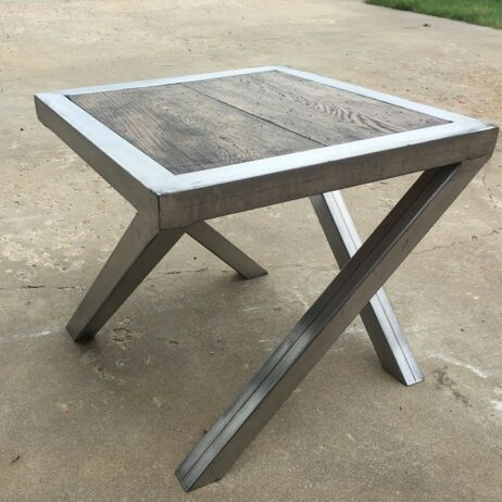 Handcrafted steel & OAK endtables... I like this and it would be fun to make.... Need a shop and welding materials. Could you imagne and entire kitchen counter and island standing on legs like this,....?