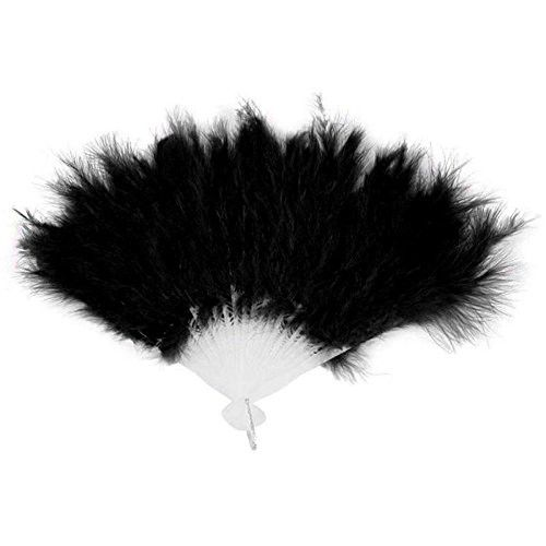 RoseSummer Soft Fluffy Dance Multicolor Feather Fan Halloween Party Supplies (black)