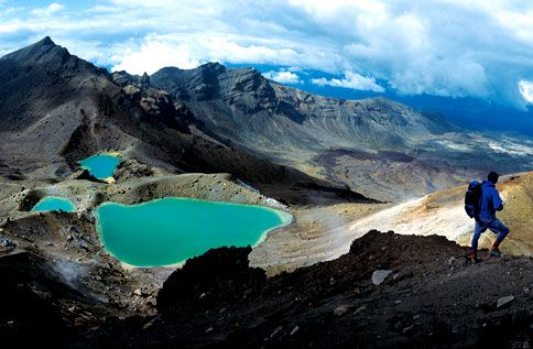 PRIMORDIAL SOUP: The three mineral-rich Emerald Lakes glow surreally within a volcanic gravel field on the slopes of New Zealand's Mount Tongariro.