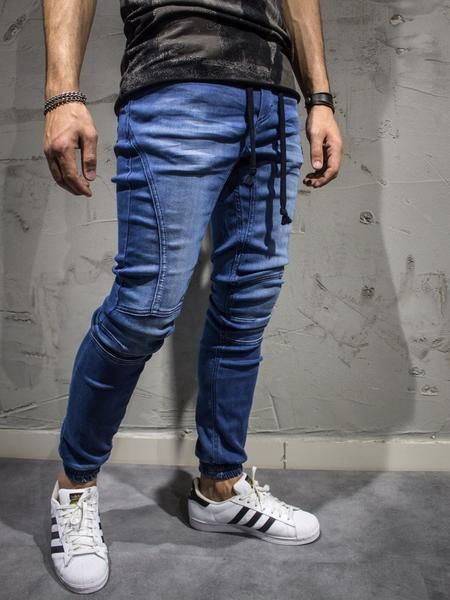 Blue slim fit jeans joggers. show-stopper. PLEASE NOTE THE LENGTH IS 33 (FOR ALL WAIST SIZES) size : W x L (Waist x Length) -97% Cotton / 3% Elastan -No Fly -SLIM FIT
