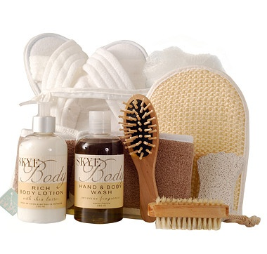 "The Skye Body Perfectly Pampered Kit provides everything you need to enjoy the most relaxing ""me"" time at home. Along with spa essentials, like comfy slippers, a nail brush and a hand mitt, the stars of this kit are the Skye Body Hand and Body Wash and Body Lotion."