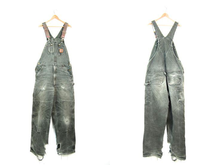 Green Denim DISTRESSED Bib Overalls 90s Worn In Work Jean Carhartt Bibs Overalls Farmer Boho Grunge WORN In Carpenter Pants Men's 34 x 34