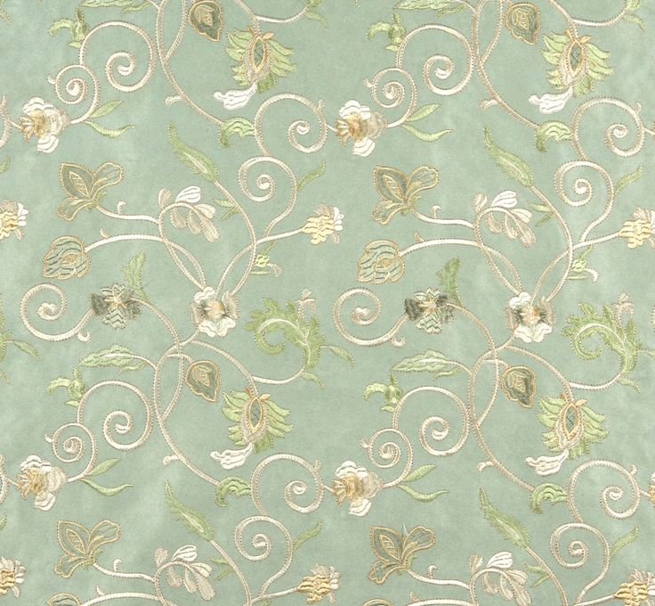 Light Green Ivory and Gold Embroidered Floral by DiscountedFabrics