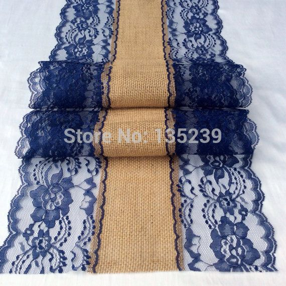 Find More Event & Party Supplies Information about 5.9ft burlap Lace Runner Wedding Table Runner with Navy Blue Lace, 12in Wide x 72in long, Rustic, Wedding Decor, Nautical,High Quality table runner lace,China runners round table Suppliers, Cheap runner green from Rustic Wedding on Aliexpress.com