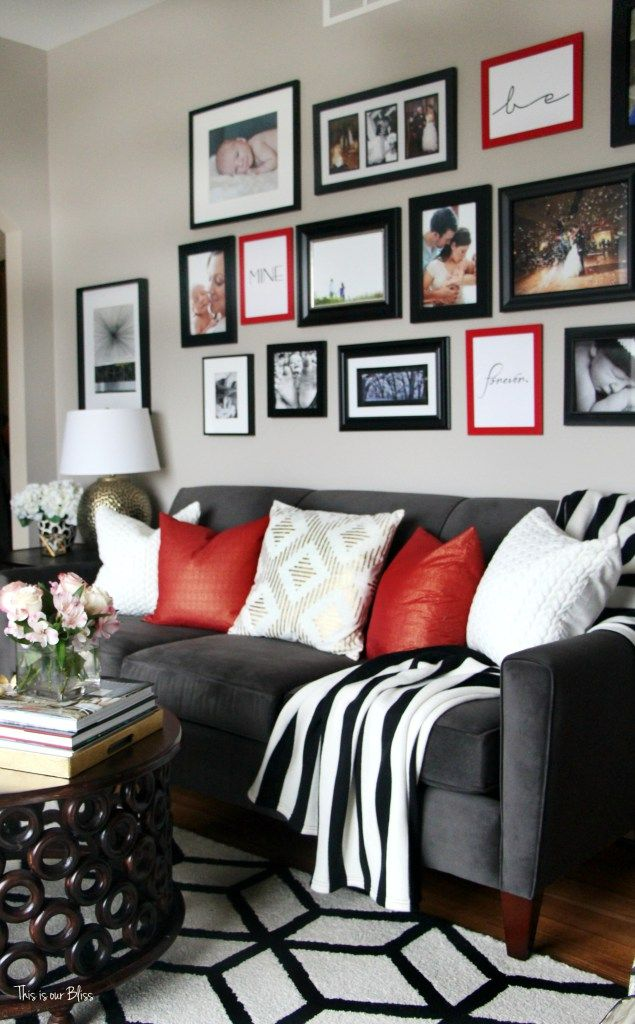 Living Room Colors, White Living Rooms, Living Room Ideas, Red Couch Living  Room, Red So, Red Black, Black And White, Grey Couches, Gallery Wall