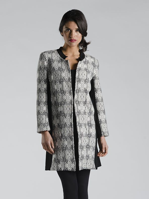 Straight Cut Patterned Panel Jacket in White - A RED CORAL STAR ITEM !  This item is made with a luxurious fabric that is several layers of texture to create one fabulous look! A structured jacket with a fabulous collar and hook and eye closure for ease.  Wear as a tunic or as outerwear, you'll love the fit and feel of this dramatic piece!