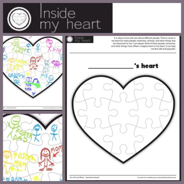 Printable healing heart activity for children. Great for attachment, adjustment, grief and loss, and child to tap into some inner peace. #socialwork #playtherapy #mindfulness