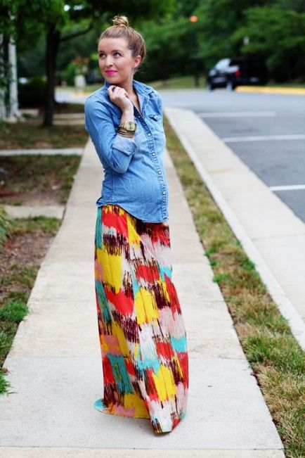 Style Your Bump: 12 Inspiring Outfits...obsessed with this chambray top and tribal print maxi skirt!