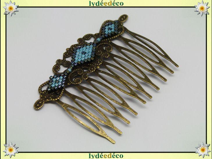 Peigne cheveux vintage mariage perles de verre gris bleu turquoise bronze : Accessoires coiffure par lydeedeco