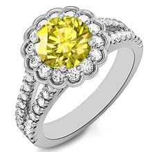 Canary Yellow Diamond Halo Engagement Ring Split Band