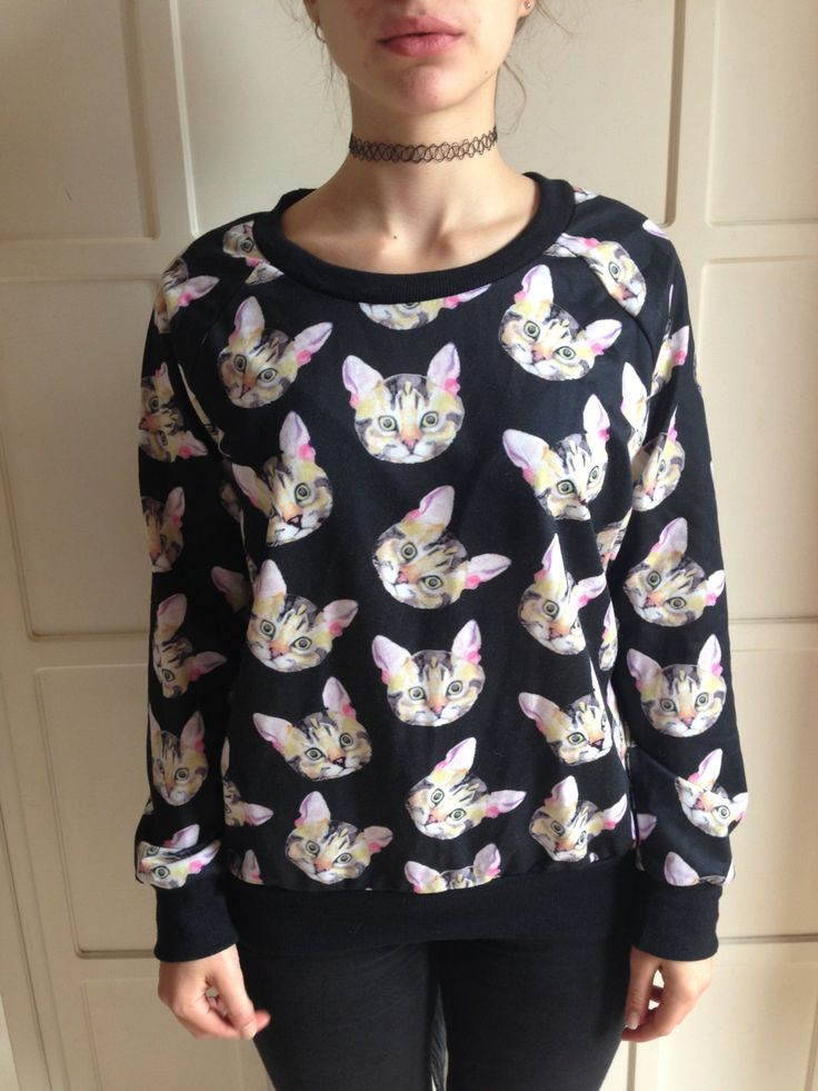 Black 90s psycho kawaii jumper all over print cats by Madeleinette on Etsy