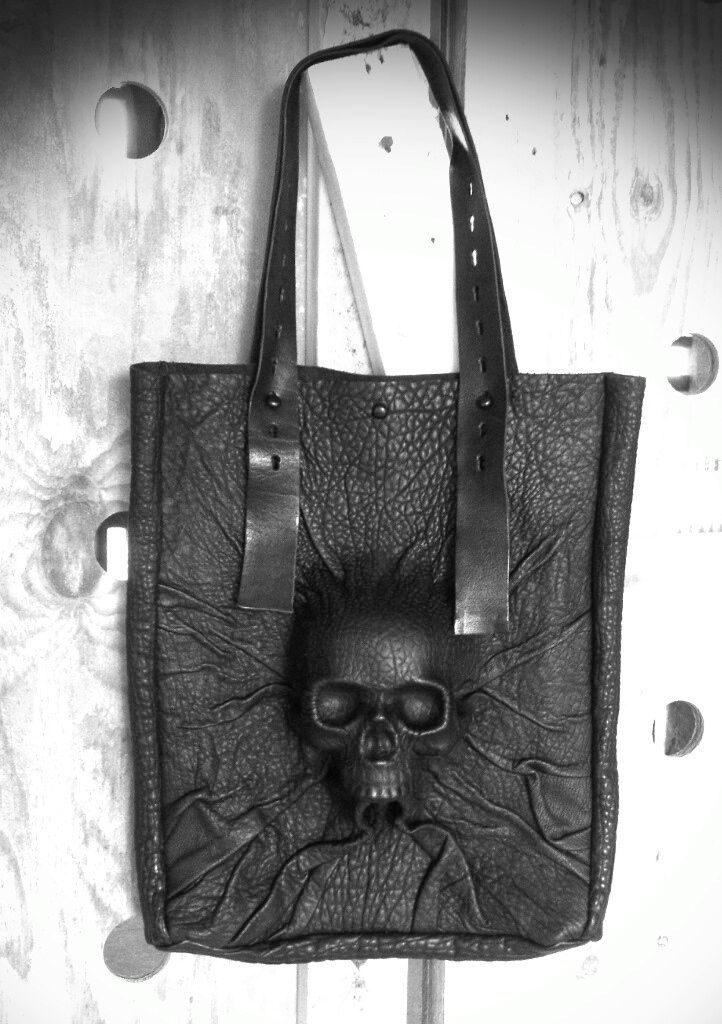 leather molded skeleton bag
