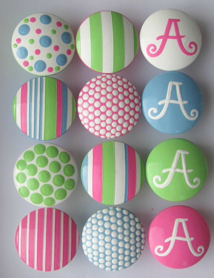 Hand Painted Pink Green Blue Monogram Knobs