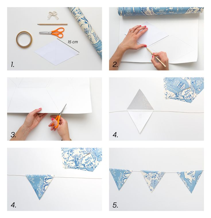 DIY with Photowall Create pennants with wallpaper for the children's room - all you need is your favorite cup, glue, scissors and thread. #DIY #kidsdecor #kidsroom #pennants #vimplar #barnrum #decor