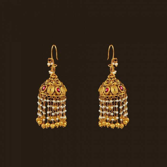 Gold Pearls Hook drops (108A36240) | Vummidi Bangaru Jewellers