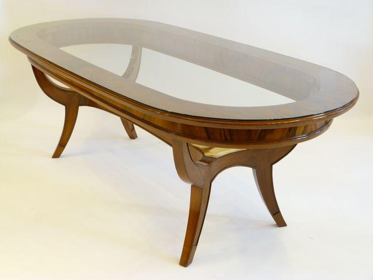 mesa americana producto destacado de madera maciza con tapa de vidrio y plano