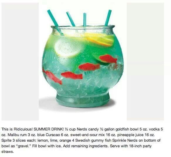 Fish bowl cocktail drinks pinterest for Fish bowl drink recipe