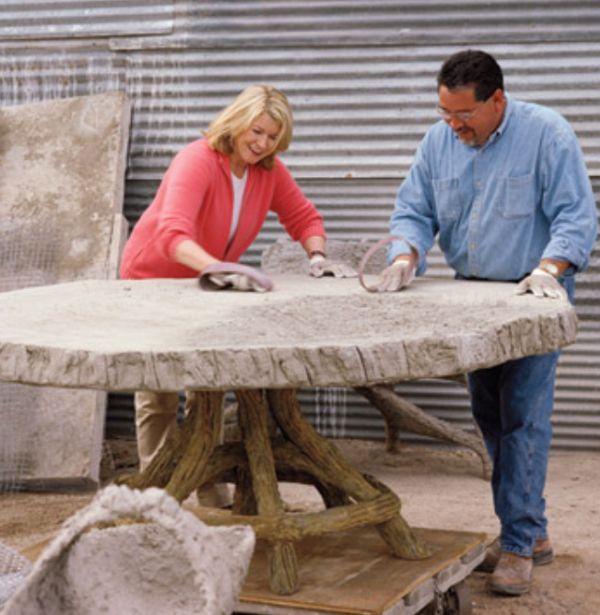 Faux Bois Concrete Table By Martha Stewart. #DIY #ConcreteDecor  #CountertopMix #QUIKRETE