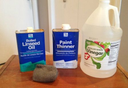 Mix together in a glass jar equal parts of Boiled Linseed Oil, Turpentine or Paint Thinner, and White Vinegar.
