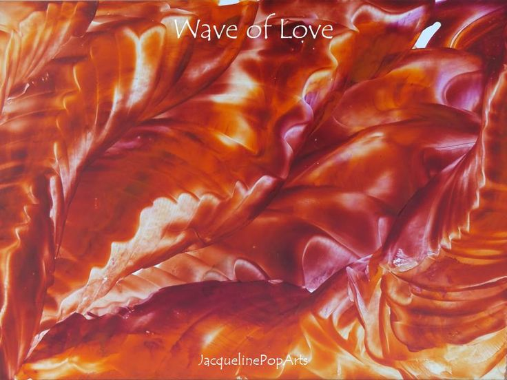 Wave of Love, encaustic art by JacquelinePopArts