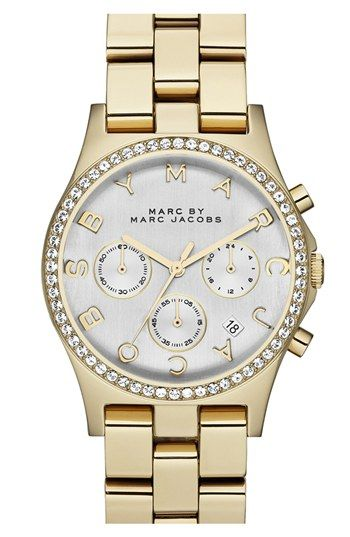 MARC BY MARC JACOBS 'Henry' Chronograph & Crystal Topring Watch, 40mm available at #Nordstrom