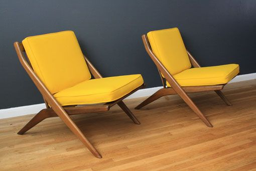 Pair of vintage Mid-Century walnut scissor lounge chairs designed by Folke Ohlsson for Dux. *yellow* via MIDCENTURY MODERN FINDS
