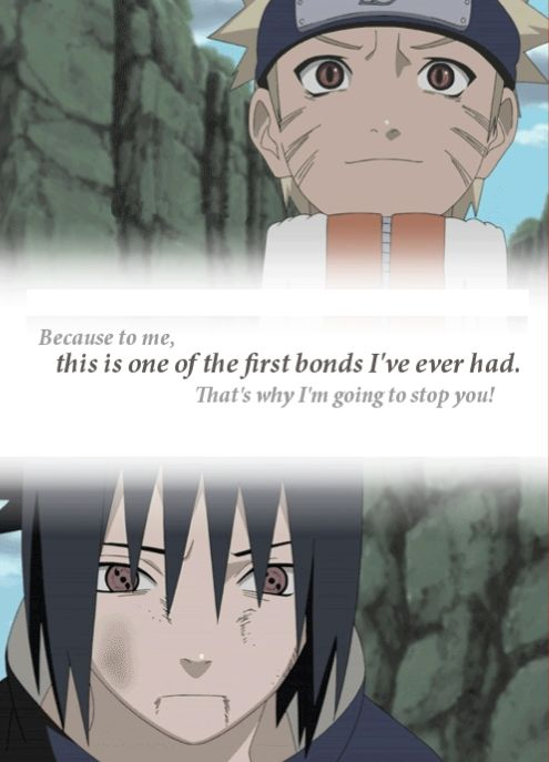 Naruto and Sasuke Look at Sasuke's face he looks almost sad