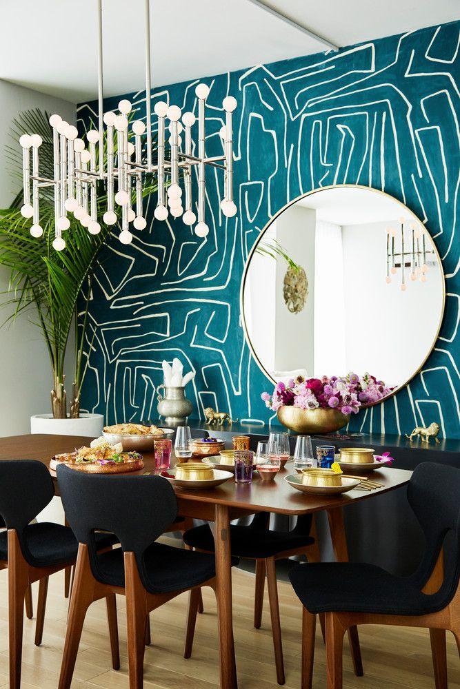 Graphic Dining Room Wallpaper In 2020 Zimmer Tapete Esszimmer Wande Tapete Wohnzimmer