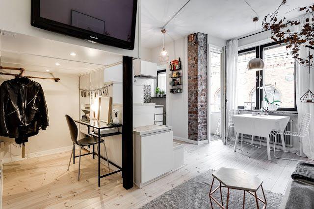 Skandynawskie wnętrza - jednopokojowe mieszkanie