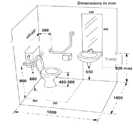 Handicap Bathroom Size Restroom Wheelchair Accessible ...