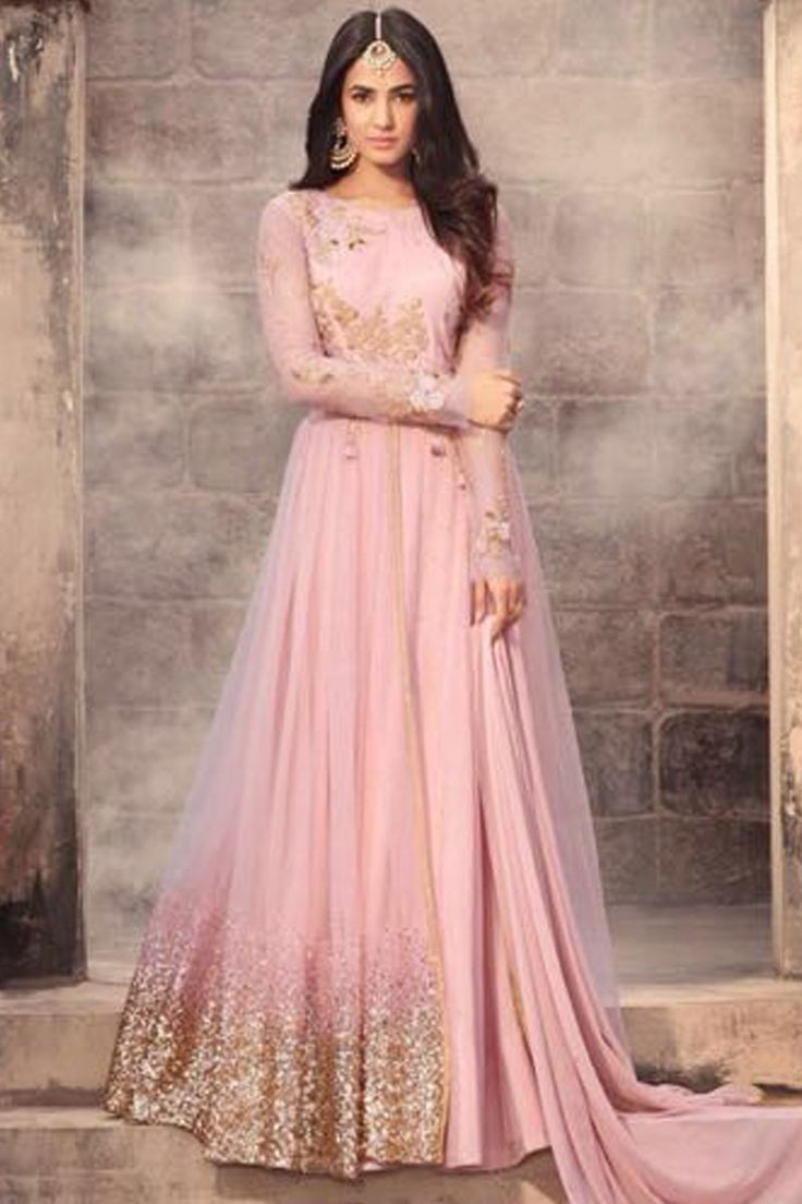 Attractive Pink Color Beautiful Embroidery Work Net Fabric Party Wear Indian Occasionally Fashion Traditional Bollywood Style Sonal Chauhan Anarkali Suit #anarkalisuit #pinkdress #maishamaskeen #zuaancollection #floorlengthdress #salwarsuit #gownstyle #fancyfabrics #stylishdress #gownstylesuit #designerweardress #embroiderywork #usa #australia #uk #france #germany #indonesia