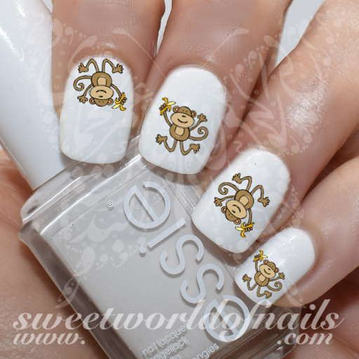 Monkey Nail Art Jumping Monkey Banana Nail Water Decals Water Slides