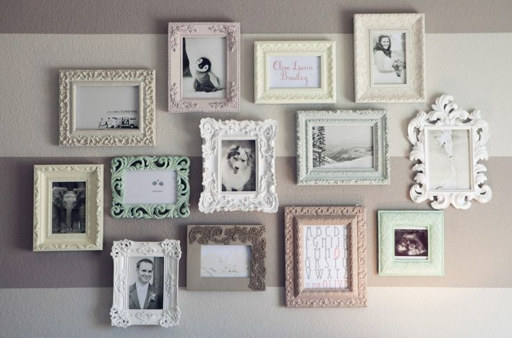 Feminine frames in a beautiful gallery wall - #nurseryPictures Collage, Vintage Frames, Baby Room, Frames Collage, Frames Wall, Gallery Wall, Vintage Diy, Pictures Frames, Wall Gallery