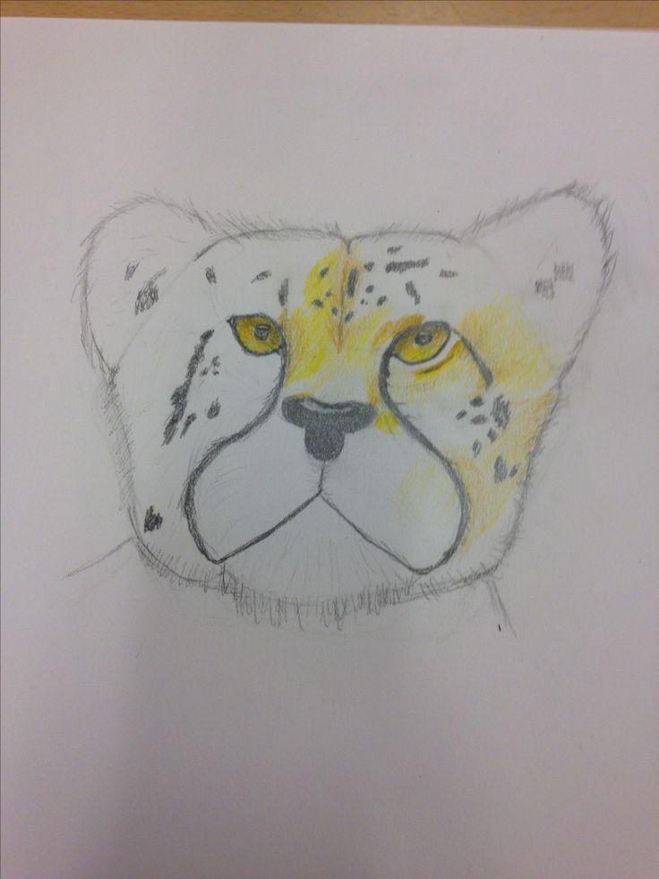 In de les daarna heb ik nieuwe dingen geleerd door met kleur te gaan tekenen op een andere manier. In deze manier ging ik met de ene kleur over de andere. Dat ging erg goed en de volgende les ga ik nog meer van die techniek gebruik maken.