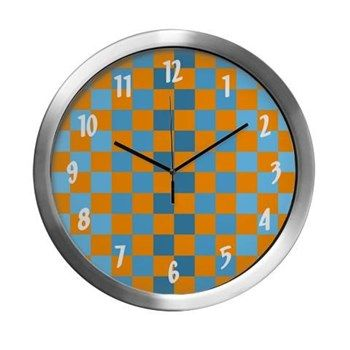 Blue & Orange Squares Modern Wall Clock from cafepress store: AG Painted Brush T-Shirts. #clock #wallclock #pattern #patterned