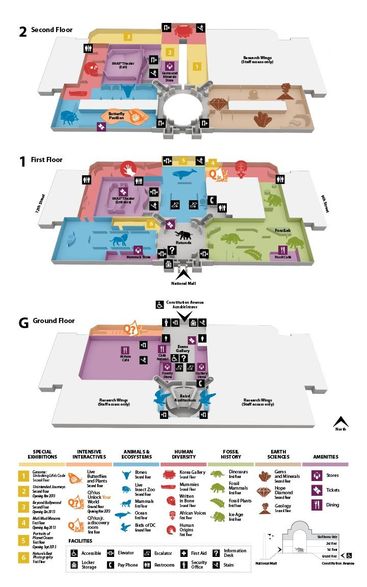 Floor Plans of the Smithsonian National Museum of Natural History- color coordinated map