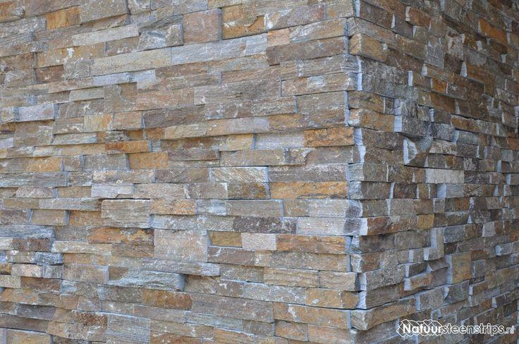 Steenstrips puur Natuursteen - binnen en buiten. Brons Rustiek Kwartsiet Natuursteenstrips toveren uw muur om tot aantrekkelijke wanden. Kleuren in het paneel: bruin, aarde, oranje, beige en antraciet