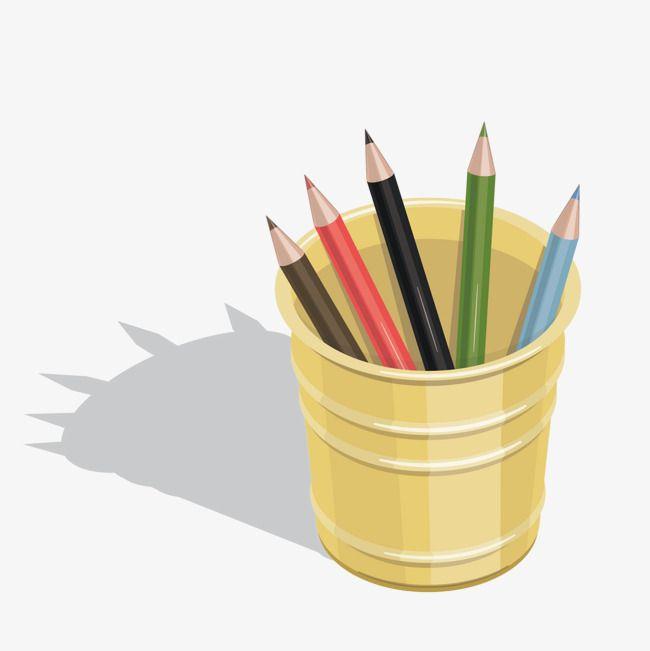 قلم رصاص رسمت باليد القرطاسية لون الرصاص Yellow Pen Pen Holders Vector Graphics