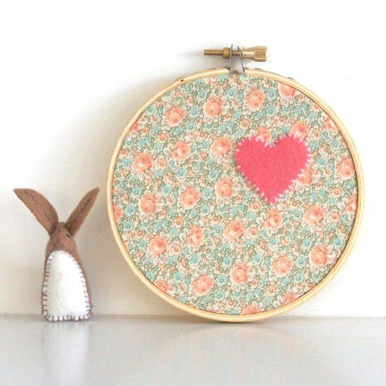 Recycle your daughter's favorite dress by making it into this sweet hoop art wall hanging for her room. Easy DIY tutorial.