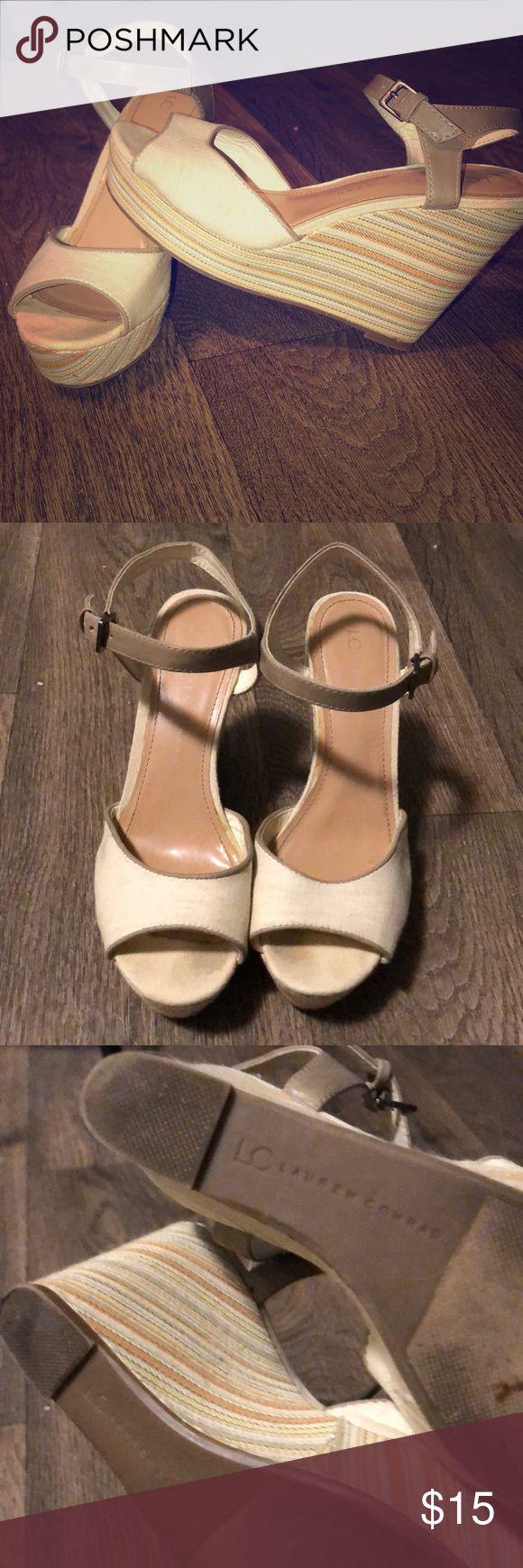 LC Open Toed Wedge Sandals Lauren Conrad multi colored wedge sandals. LC Lauren Conrad Shoes Wedges