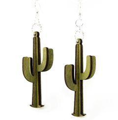 3D Cactus Wood Earrings