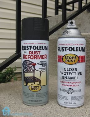 Rust-Oleum Rust Reformer and Rust-Oleum Gloss Protective enamel to protect meal railing from rust.