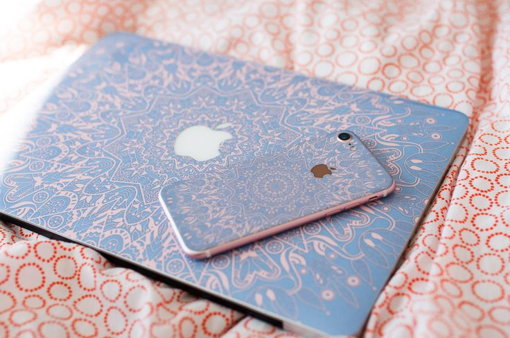 Macbook Skin and iPhone Skin with hottest colors of Serenity blue and rose pink. Check all Macbook Skins and decals for other laptops!