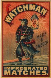 Warchman. Matchbox label-  Swedish Match Factories