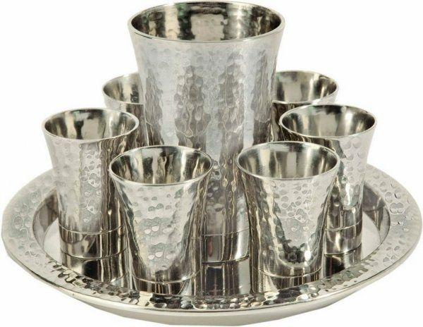 Hammered Nickel Kiddush Cup Set