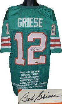Bob Griese signed Miami Dolphins Teal Prostyle Jersey w/ Embroidered Stats. Available through our Memorabilia Block auction.