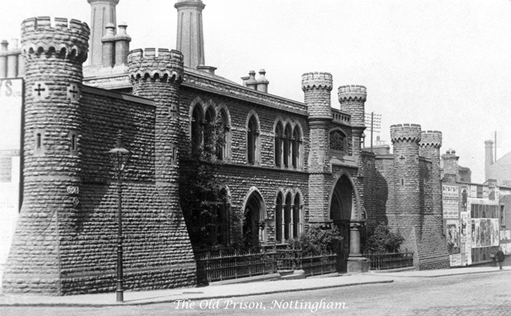 The old Nottingham prison on St John's Street (now called Lower Parliament Street). It was located at the east corner of Glasshouse Street and King Edward Street.